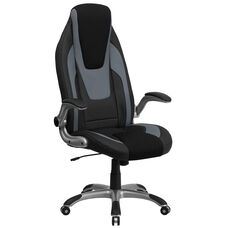 High Back Black and Gray Vinyl Executive Swivel Chair with Black Mesh Insets and Flip-Up Arms
