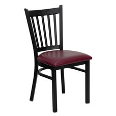 Black Vertical Back Metal Restaurant Chair with Burgundy Vinyl Seat