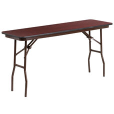 5-Foot Mahogany Melamine Laminate Folding Training Table