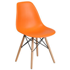 Elon Series Orange Plastic Chair with Wood Base