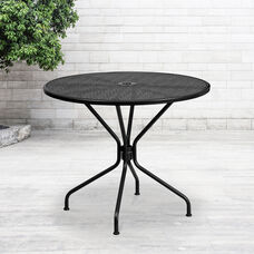 "Commercial Grade 35.25"" Round Black Indoor-Outdoor Steel Patio Table"
