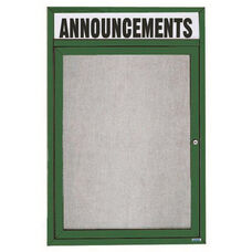 1 Door Outdoor Enclosed Bulletin Board with Header and Green Powder Coated Aluminum Frame - 36