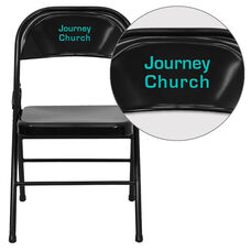 Personalized HERCULES Series Triple Braced & Double Hinged Black Metal Folding Chair