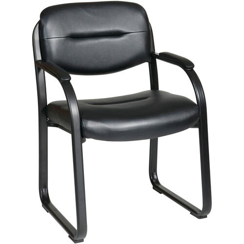 Our Work Smart Faux Leather Visitors Chair with Padded Arms and Sled Base - Black is on sale now.
