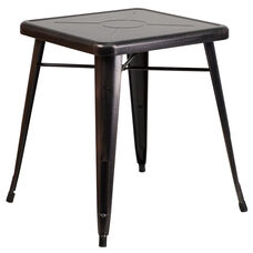 """Commercial Grade 23.75"""" Square Black-Antique Gold Metal Indoor-Outdoor Table"""
