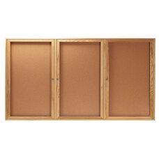 3 Door Enclosed Bulletin Board with Oak Finish - 36