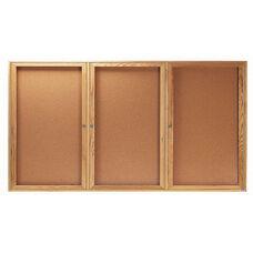 3 Door Enclosed Bulletin Board with Oak Finish - 36''H x 72''W
