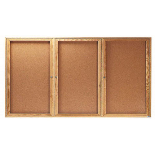 Our 3 Door Enclosed Bulletin Board with Oak Finish - 36