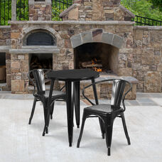 "Commercial Grade 24"" Round Black Metal Indoor-Outdoor Table Set with 2 Arm Chairs"