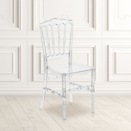 "Our Flash Elegance Crystal Ice Napoleon Stacking Chair with <span style=""color:#0000CD;"">Free </span> Cushion is on sale now."