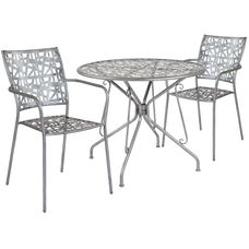 """Agostina Series 35.25"""" Round Antique Silver Indoor-Outdoor Steel Patio Table with 2 Stack Chairs"""