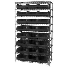 Wire Shelving Unit with 24 Magnum Bins - Black