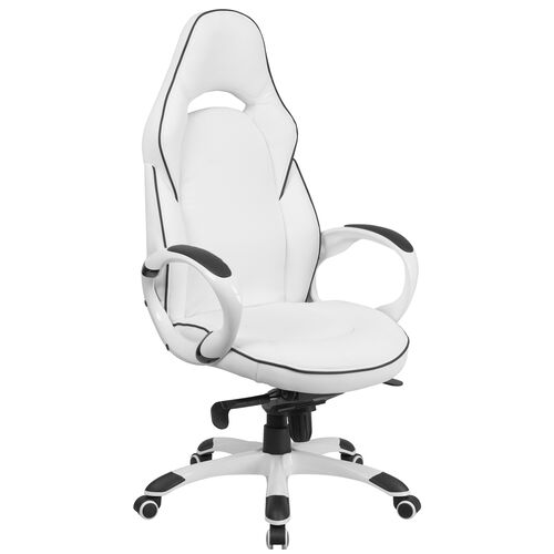 Our High Back White Vinyl Executive Swivel Office Chair with Black Trim and Arms is on sale now.