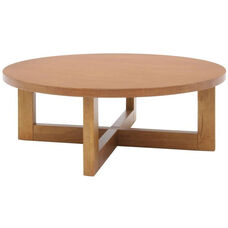 37'' Round Wooden Coffee Table with X Base - Oak