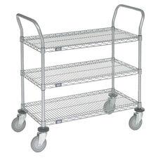 Chrome 3 Shelf Utility Cart-Polyurethane Caster - 24