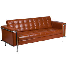 HERCULES Lesley Series Contemporary Cognac Leather Sofa with Encasing Frame