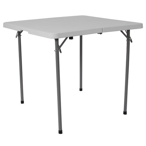 Our 2.79-Foot Square Bi-Fold Granite White Plastic Folding Table with Carrying Handle is on sale now.