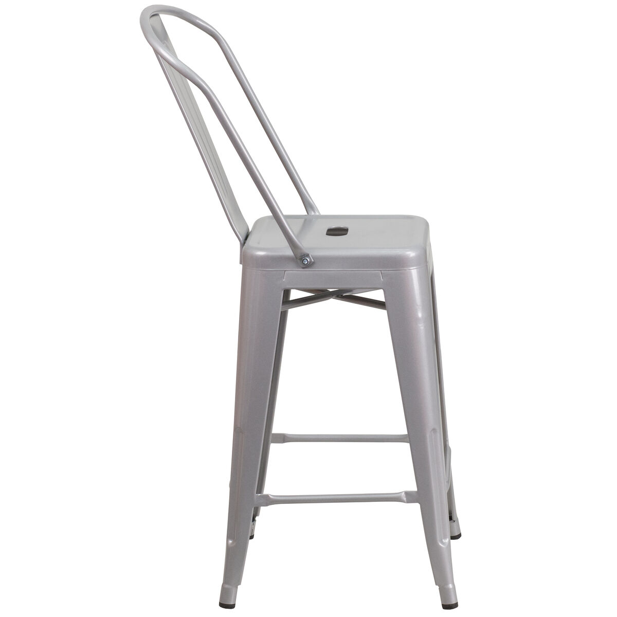 24 Quot Silver Metal Outdoor Stool Ch 31320 24gb Sil Gg
