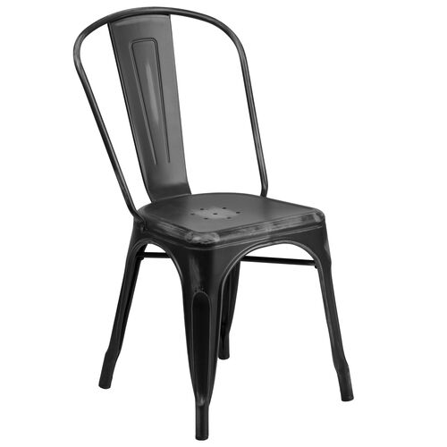 Our Commercial Grade Distressed Black Metal Indoor-Outdoor Stackable Chair is on sale now.