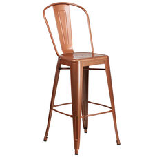 """Commercial Grade 30"""" High Copper Metal Indoor-Outdoor Barstool with Back"""