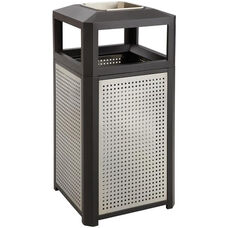 Evos™ Steel Indoor or Outdoor Trash Receptacle with Ash Tray - Black