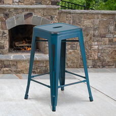 """Commercial Grade 24"""" High Backless Distressed Antique Blue Metal Indoor-Outdoor Counter Height Stool"""