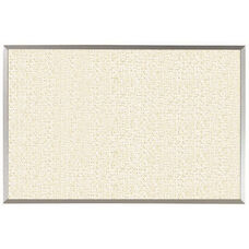 Burlap Weave Vinyl Bulletin Board with Aluminum Clear Satin Anodized Frame - White Rice - 24