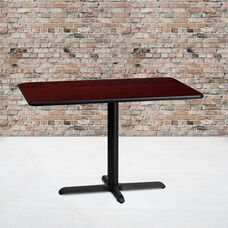24'' x 42'' Rectangular Mahogany Laminate Table Top with 23.5'' x 29.5'' Table Height Base