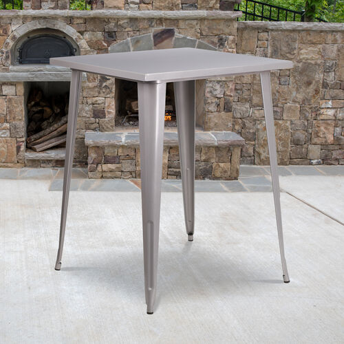 "Our Commercial Grade 31.5"" Square Silver Metal Indoor-Outdoor Bar Height Table is on sale now."
