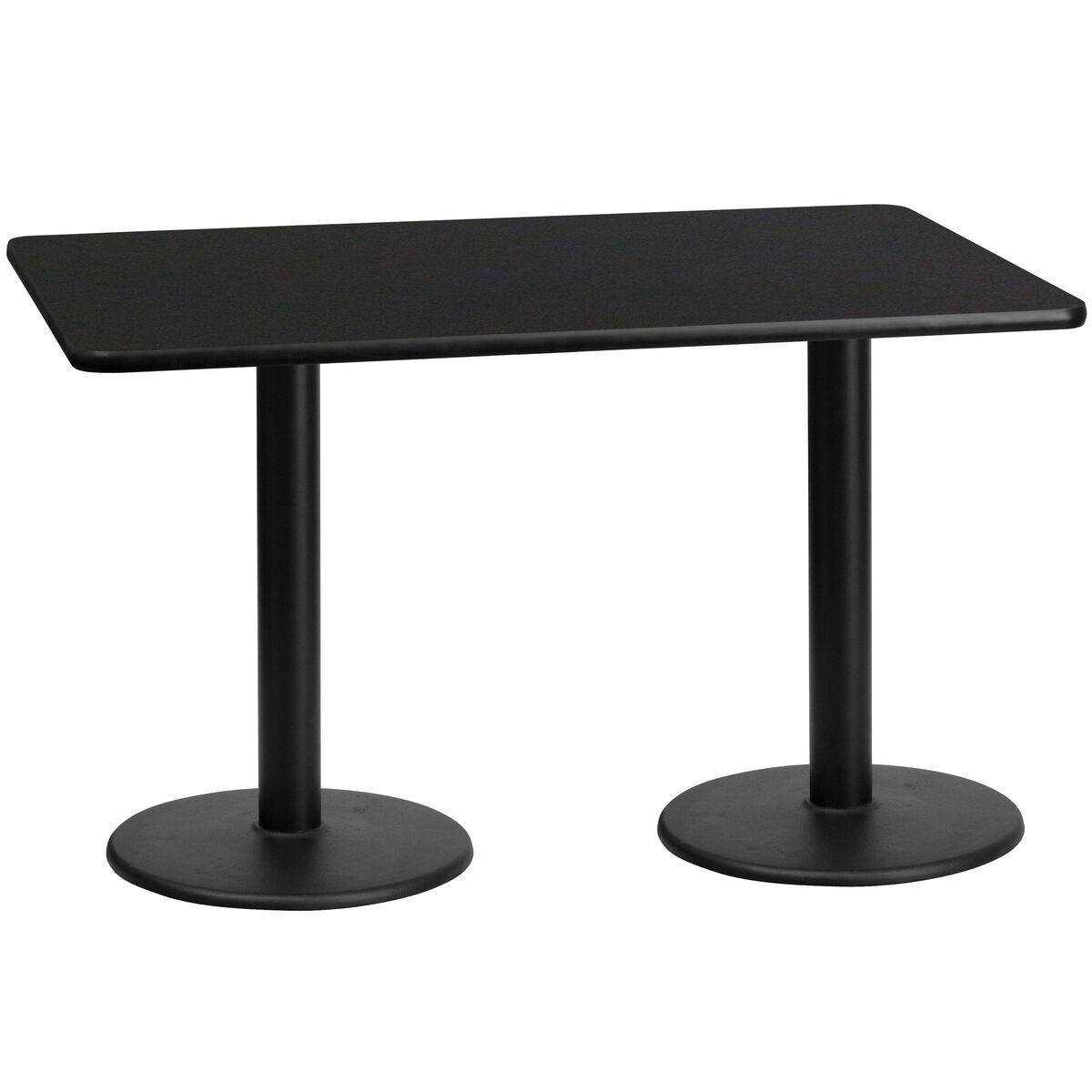 30 X 60 Rectangular Black Laminate Table Top With 18