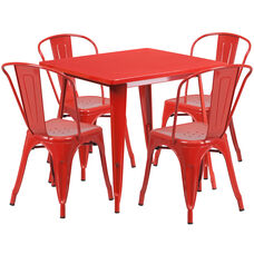 """Commercial Grade 31.5"""" Square Red Metal Indoor-Outdoor Table Set with 4 Stack Chairs"""