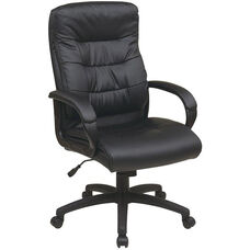 Work Smart High Back Faux Leather Executive Chair with Padded Loop Arms - Black