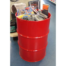 Red Dump Steel Drum Dump Bin Retail Display