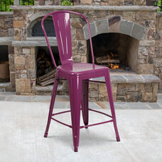 "Commercial Grade 24"" High Purple Metal Indoor-Outdoor Counter Height Stool with Back"