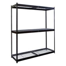Rivetwell 3 Level Center Support Double Rivet Boltless Shelving Starter Unit - Unassembled - Black - 84