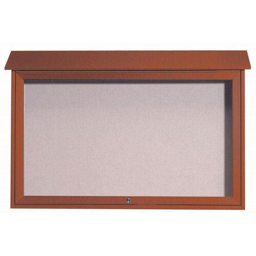 Our Cedar Top Hinged Single Door Plastic Lumber Message Center with Vinyl Surface - 30