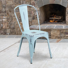 Commercial Grade Distressed Green-Blue Metal Indoor-Outdoor Stackable Chair