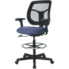 Apollo 25'' W x 24'' D x 43.5'' H Adjustable Height Mid Back Mesh Back Drafting Stool - Fabrix
