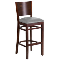 Walnut Finished Solid Back Wooden Restaurant Barstool with Custom Upholstered Seat