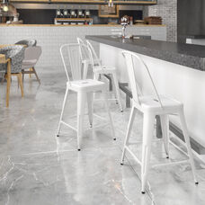 """Commercial Grade 24"""" High White Metal Indoor-Outdoor Counter Height Stool with Removable Back"""