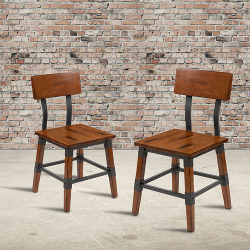 2 Pack Rustic Antique Walnut Industrial Wood Dining Chair