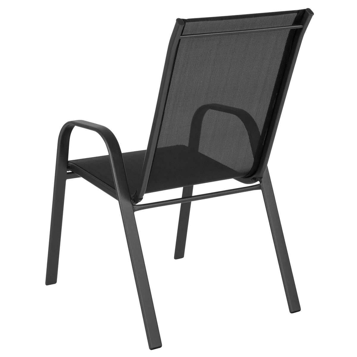 Cool Brazos Series Black Outdoor Stack Chair With Flex Comfort Material And Metal Frame Download Free Architecture Designs Grimeyleaguecom
