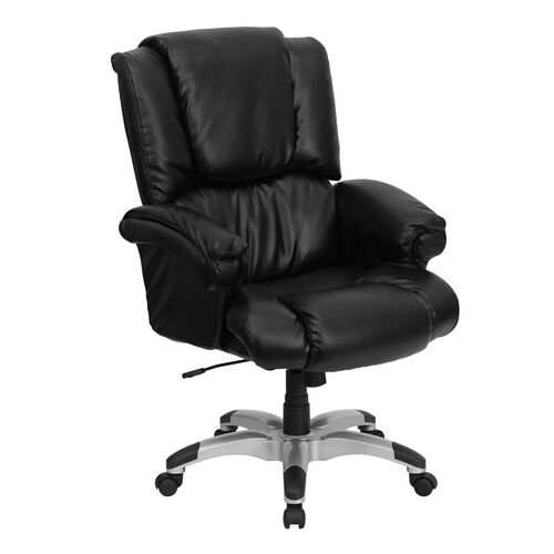 Our High Back Black LeatherSoft OverStuffed Executive Swivel Ergonomic Office Chair with Fully Upholstered Arms is on sale now.