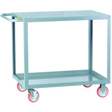 Welded Service Cart With 1 Flush Shelf and 1 Lipped Shelf