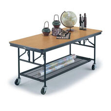 Mobile Utility Table with Laminate Plywood Core Top and Storage - 30