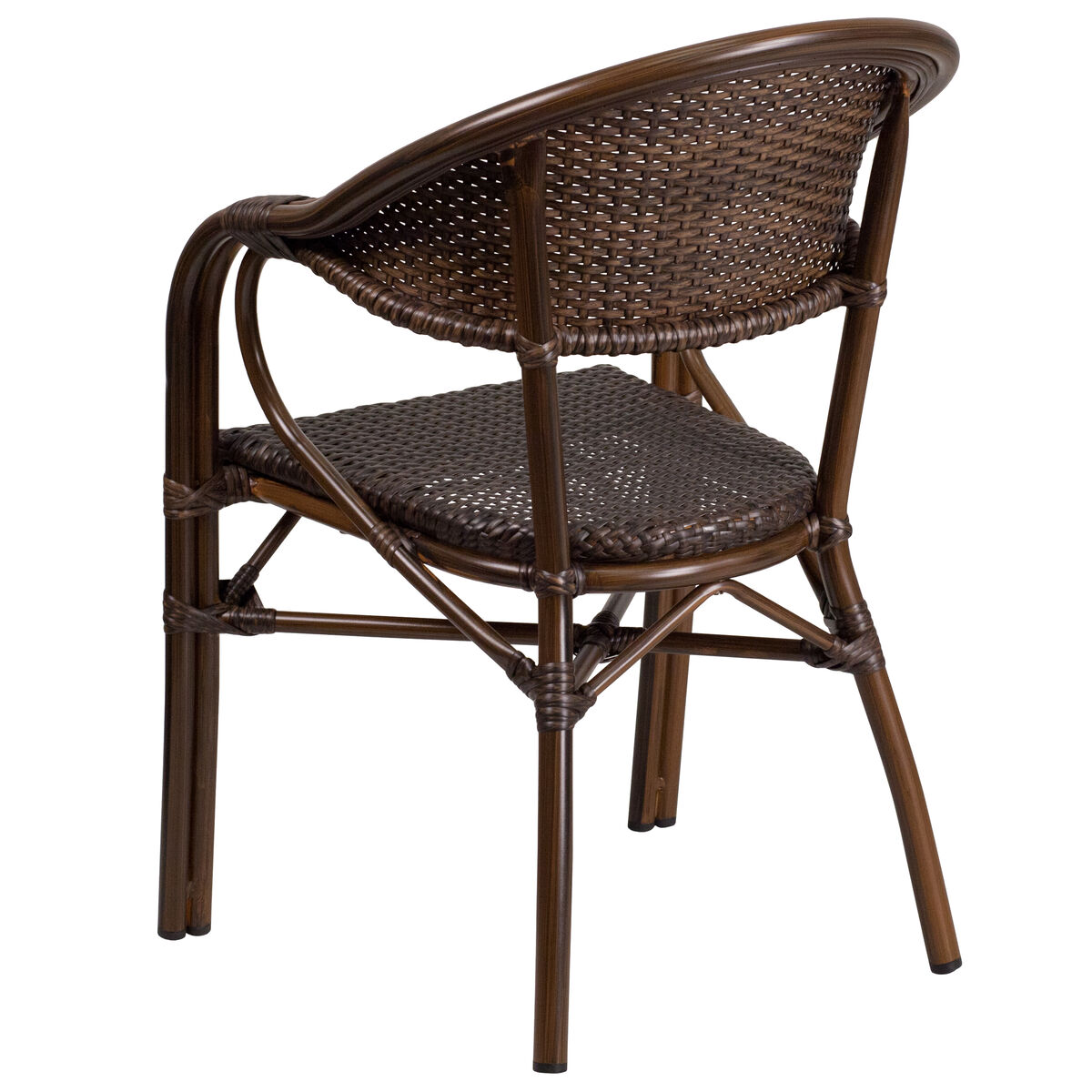 Our Milano Series Cocoa Rattan Restaurant Patio Chair With Bamboo Aluminum Frame Is On