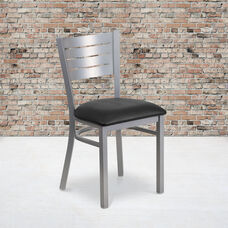 Silver Slat Back Metal Restaurant Chair with Black Vinyl Seat