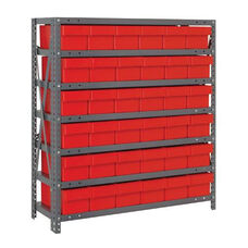 7 Shelf Open Unit with 36 Drawers - Red