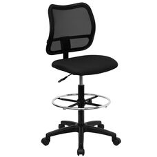 Mid-Back Black Mesh Drafting Chair