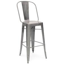 Dreux 30''H Clear Gunmetal Steel Bar Chair - Set of 4